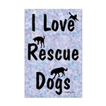 I Love Rescue Dogs (blue) Mini Poster Print