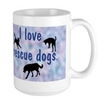 I Love Rescue Dogs (blue) Large Mug