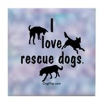 I Love Rescue Dogs (blue) Tile Coaster