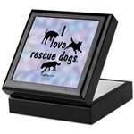 I Love Rescue Dogs (blue) Keepsake Box