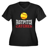 Fastpitch Catcher Women's Plus Size V-Neck Dark T-