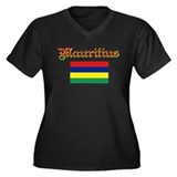 Mauritian Flag Women's Plus Size V-Neck Dark T-Shi
