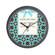 Brown and Blue Ribbon Personalized Wall Clock