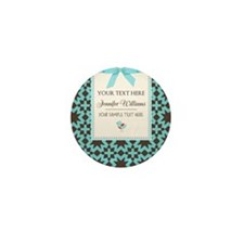 Brown and Blue Ribbon Person Mini Button (10 pack)