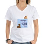 Cats vs. Dogs Women's V-Neck T-Shirt