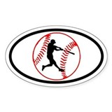 Baseball Ball and Hitter Oval Decal
