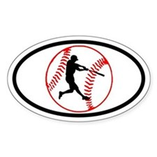 Baseball Ball and Hitter Oval Stickers