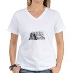Poker Playing Cats Women's V-Neck T-Shirt