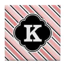 Pink Black Stripes White Monogram Tile Coaster