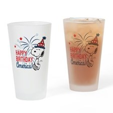 Snoopy - Happy B-Day America Drinking Glass