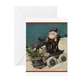 St. Nick on Train Greeting Card