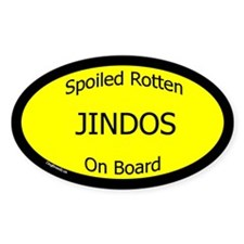 Spoiled Jindos On Board Oval Decal