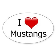 I Love Mustangs Oval Decal