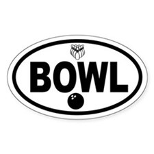 Bowling Ball and Pins Oval Decal