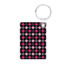 Pink Charcoal Argyle Keychains