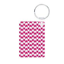 Pink Houndstooth Keychains