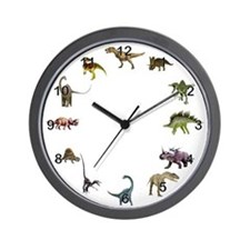 Dinosaur Wall Clock with Black Numbers