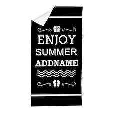 Black and White Enjoy Summer Personali Beach Towel