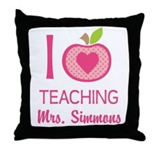 I Love Teaching personalized apple Throw Pillow
