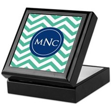 Green Navy Chevron Personalized Keepsake Box