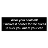 Wear Your Seatbelt Aliens Bumper Car Sticker