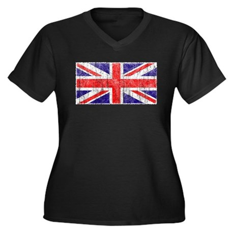 Vintage Union Jack Womens Plus Size V-Neck Dark T
