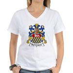 Hennequin Family Crest Women's V-Neck T-Shirt