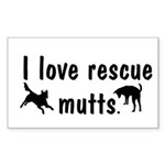 I Love Rescue Mutts Rectangle Sticker