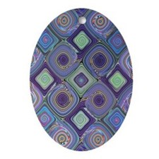 """Mosaic 2"" Fractal Art Oval Ornament"