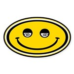 Dizzy Smiley Oval Sticker