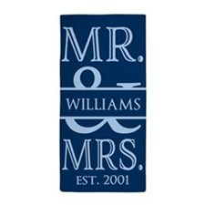 Navy Blue Mr. and Mrs. Personalized Beach Towel