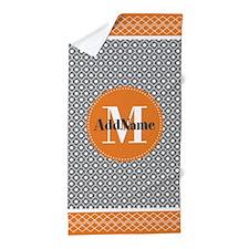 Orange and Gray Moroccan Quatrefoil Mo Beach Towel
