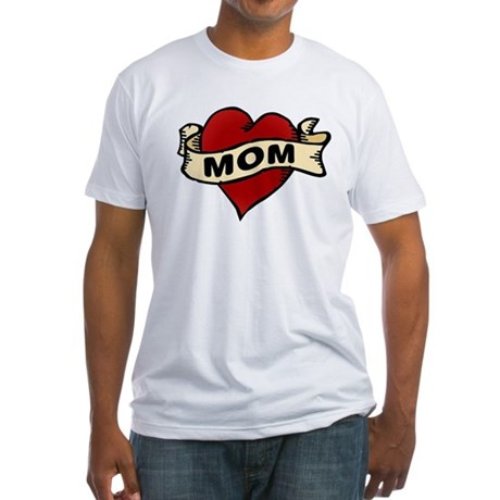 Mom heart tattoo Fitted T-Shirt