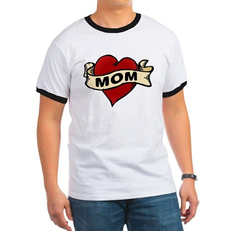 Mom heart tattoo Ringer T