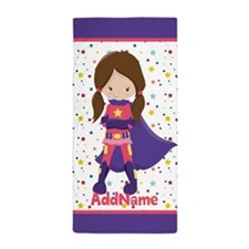 Kids Purple Pink Girl Superhero Person Beach Towel