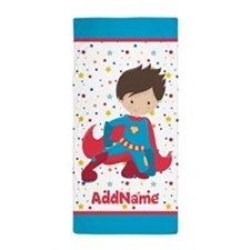 Red and Blue Boy Superhero Personalize Beach Towel