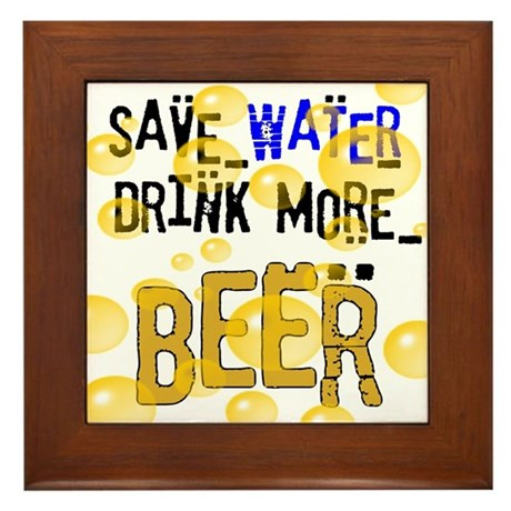 Save Water Drink Beer Framed Tile