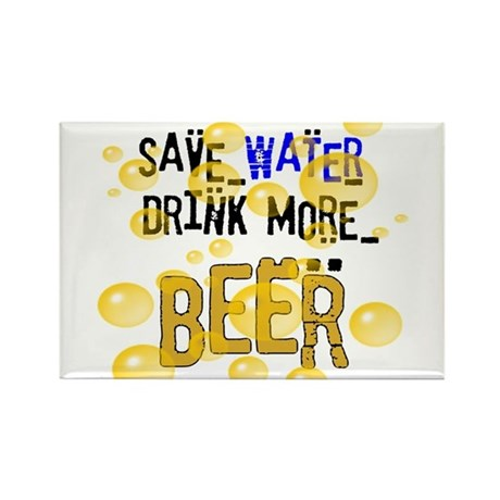 Save Water Drink Beer Rectangle Magnet (100 pack)