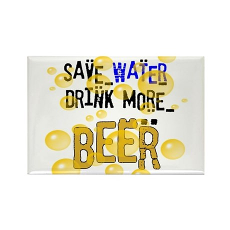 Save Water Drink Beer Rectangle Magnet (10 pack)