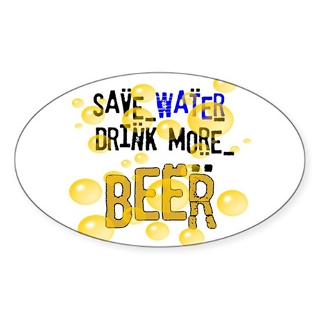 Save Water Drink Beer Oval Sticker