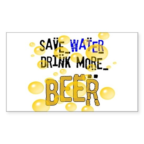 Save Water Drink Beer Rectangle Sticker