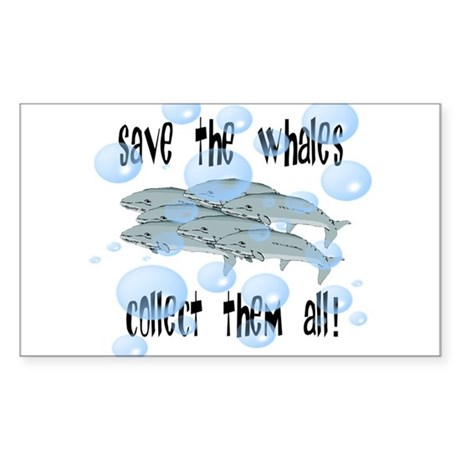 Save the Whales - Collect Them All! Sticker (Recta