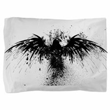 Crow Ink Splatter Pillow Sham
