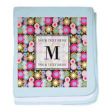 Floral Pattern with Custom Monogram baby blanket