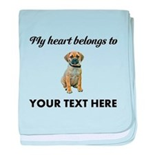 Personalized Puggle baby blanket