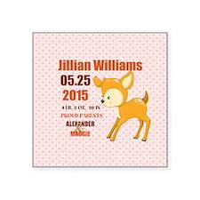 "Personalized Woodland Birth Square Sticker 3"" x 3"""