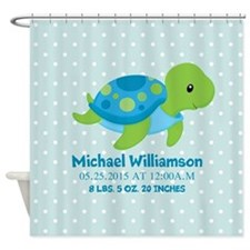 Personalized Birth Stats Tortoise Shower Curtain