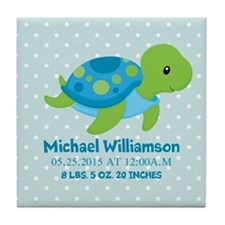 Personalized Birth Stats Tortoise Tile Coaster