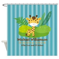 Jungle Safari Personalized Birth St Shower Curtain
