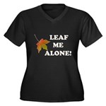 LEAF ME ALONE Women's Plus Size V-Neck Dark T-Shir